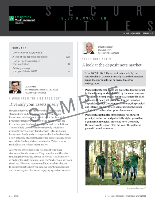 Focus Newsletter - Volume 28 - Numero 2 - Spring 2017 - Desjardins Securities Quarterly Newsletter - This link will open in a new window